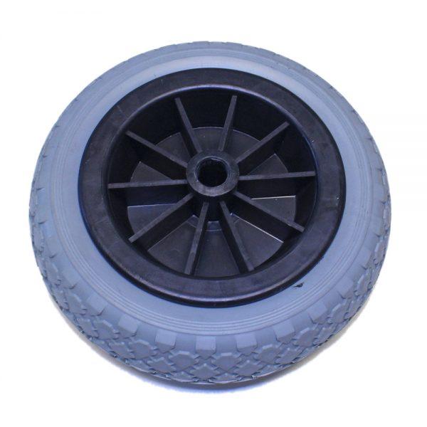 Sidostödhjul massivgummi. Plast-/plåtfälg.